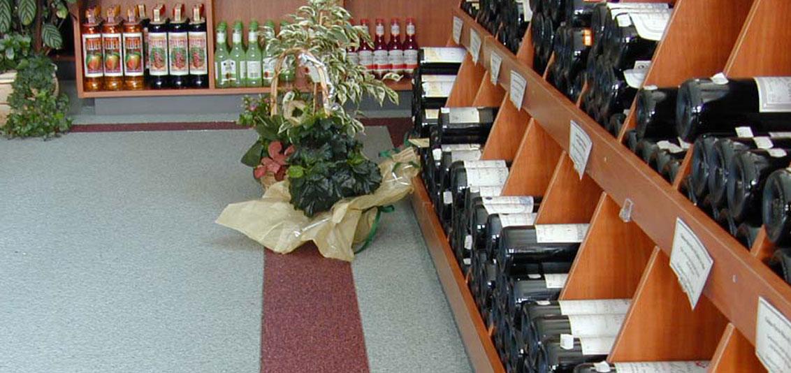 Coatings voor de winkelruimte zoals een wijnhandel
